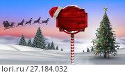 Купить «Wooden signpost in Christmas Winter landscape with Christmas tree and Santa's sleigh and reindeer's», фото № 27184032, снято 19 июля 2018 г. (c) Wavebreak Media / Фотобанк Лори