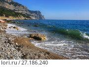 Купить «Волна набегает на берег каменистого пляжа», фото № 27186240, снято 30 мая 2017 г. (c) Яна Королёва / Фотобанк Лори