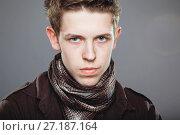 Young man wearing elegant shirt and scarf. Стоковое фото, фотограф Podvysotskiy Roman / Фотобанк Лори