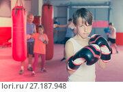 Купить «Portrait of young boy with boxing gloves posing», фото № 27187948, снято 12 апреля 2017 г. (c) Яков Филимонов / Фотобанк Лори