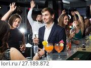 Купить «Females and males celebrating corporate», фото № 27189872, снято 20 апреля 2017 г. (c) Яков Филимонов / Фотобанк Лори
