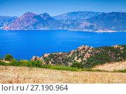Купить «Summer panoramic coastal landscape of Corsica», фото № 27190964, снято 5 июля 2015 г. (c) EugeneSergeev / Фотобанк Лори