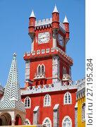 Купить «Clock tower of Pena Palace. Sintra. Portugal», фото № 27195284, снято 3 июля 2016 г. (c) Serg Zastavkin / Фотобанк Лори