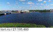 Купить «St. Petersburg, Russia - June 04.2017. View of Mitninskaya embankment from Neva River», видеоролик № 27195480, снято 22 октября 2019 г. (c) Володина Ольга / Фотобанк Лори