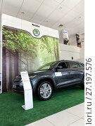 Купить «Selling cars Skoda in the showroom. New products automaker Skoda», фото № 27197576, снято 7 июня 2017 г. (c) Евгений Ткачёв / Фотобанк Лори