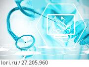 Купить «Composite image of digital background with medical sign », фото № 27205960, снято 23 апреля 2019 г. (c) Wavebreak Media / Фотобанк Лори