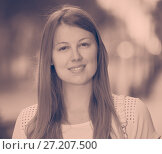 Купить «Closeup portrait of young stylish girl outdoors», фото № 27207500, снято 15 августа 2017 г. (c) Яков Филимонов / Фотобанк Лори
