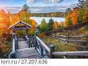 Купить «Вид на Волгу с лестницы View of the Volga River from a wooden staircase», фото № 27207636, снято 8 октября 2017 г. (c) Baturina Yuliya / Фотобанк Лори
