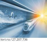 Купить «Speed of train and plane traveling», фото № 27207736, снято 16 октября 2018 г. (c) Яков Филимонов / Фотобанк Лори
