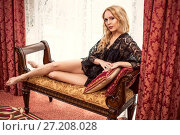 very beautiful young blonde woman on a banquet. Стоковое фото, фотограф katalinks / Фотобанк Лори