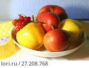Купить «Урожай яблок и ягода калина в тарелке на столе», фото № 27208768, снято 12 ноября 2017 г. (c) Светлана Евграфова / Фотобанк Лори