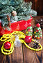 Купить «Новогодние украшения на деревянном фоне», фото № 27209972, снято 13 ноября 2017 г. (c) Papoyan Irina / Фотобанк Лори