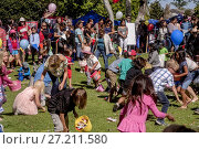 Купить «Multiracial children carrying baskets swarm across the lawn of a park in Costa Mesa, CA, searching for scattered Easter prizes.», фото № 27211580, снято 14 апреля 2017 г. (c) age Fotostock / Фотобанк Лори