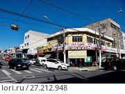 Купить «Shopping street, Sunday, Center, city, 2017, Pindamonhangaba, Sao Paulo, Brazil.», фото № 27212948, снято 9 июля 2017 г. (c) age Fotostock / Фотобанк Лори