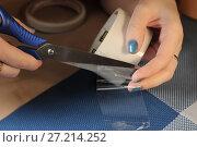 Купить «Женская рука разрезает ножницами прозрачный скотч», фото № 27214252, снято 18 ноября 2017 г. (c) Юлия Юриева / Фотобанк Лори
