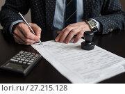 Купить «Индивидуальный предприниматель ставит подпись на бланке налоговой декларации на вменённый доход», эксклюзивное фото № 27215128, снято 6 ноября 2017 г. (c) Игорь Низов / Фотобанк Лори