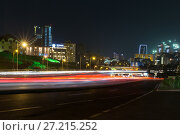 Купить «Heydar Aliyev Avenue. Multi-level road junction with heavy car traffic. Night view of the city of Baku - the capital of the Republic of Azerbaijan», фото № 27215252, снято 22 сентября 2016 г. (c) Евгений Ткачёв / Фотобанк Лори