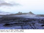 Купить «Lifeless winter night landscape. Fog over the mountains», фото № 27215292, снято 14 марта 2015 г. (c) Евгений Ткачёв / Фотобанк Лори