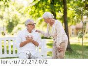 Купить «senior man feeling sick at summer park», фото № 27217072, снято 16 июля 2017 г. (c) Syda Productions / Фотобанк Лори