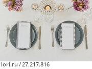 Купить «Beautiful table setting for an occasion», фото № 27217816, снято 14 июня 2017 г. (c) Wavebreak Media / Фотобанк Лори