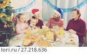 Купить «Happy family members making conversation», фото № 27218636, снято 16 августа 2018 г. (c) Яков Филимонов / Фотобанк Лори