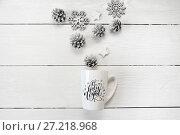 Купить «Christmas text O holly hight on a white mug with a christmas decor. Photography for holiday greeting card, invitation, calendar poster banner», фото № 27218968, снято 15 ноября 2017 г. (c) Happy Letters / Фотобанк Лори