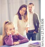 Купить «Parents lecturing daughter», фото № 27219836, снято 19 марта 2019 г. (c) Яков Филимонов / Фотобанк Лори