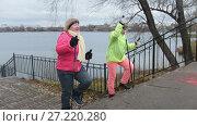 Купить «Nordic walking for elderly women outdoor - two senior ladies have training outdoor», видеоролик № 27220280, снято 25 мая 2019 г. (c) Константин Шишкин / Фотобанк Лори