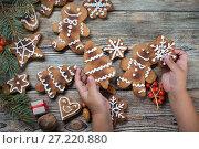 Купить «Christmas background on a wooden», фото № 27220880, снято 14 сентября 2017 г. (c) Типляшина Евгения / Фотобанк Лори