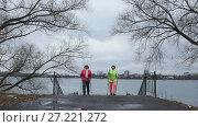 Купить «Nordic walking for elderly women outdoor - two senior ladies have training outdoor», видеоролик № 27221272, снято 25 мая 2019 г. (c) Константин Шишкин / Фотобанк Лори