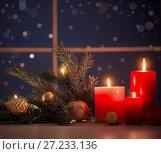 Купить «Christmas candles on background night window», фото № 27233136, снято 19 ноября 2017 г. (c) Майя Крученкова / Фотобанк Лори