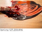 Купить «dead woman hand in blood on floor at crime scene», фото № 27233816, снято 5 мая 2017 г. (c) Syda Productions / Фотобанк Лори