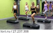 Купить «Group of sporty women working out with steppers in gym», видеоролик № 27237308, снято 31 июля 2017 г. (c) Яков Филимонов / Фотобанк Лори