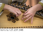 Купить «Музыкант играет на народном струнном инструменте гусли во время концерта», фото № 27237348, снято 17 ноября 2017 г. (c) Николай Винокуров / Фотобанк Лори