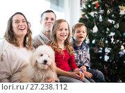 Купить «Charming family members spending Christmas time», фото № 27238112, снято 23 декабря 2016 г. (c) Яков Филимонов / Фотобанк Лори