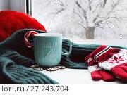 Купить «Winter background - cup with candy cane, woolen scarf and gloves on windowsill and winter scene outdoors. Winter still life», фото № 27243704, снято 28 ноября 2017 г. (c) Зезелина Марина / Фотобанк Лори
