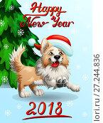 Купить «Праздничная открытка на Новый год. Собака породы Бордер Колли бежевого цвета в шапке Санта-Клауса бежит вперед и надпись Happy New Year на голубом фоне со снежинками и елью. Цветная иллюстрация в мультипликационном стиле», иллюстрация № 27244836 (c) Анастасия Некрасова / Фотобанк Лори