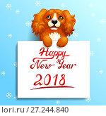 Купить «Подарочная открытка. Собака породы Кокер Спаниель рыжего цвета с лапами на белом плакате с надписью Happy New Year на голубом фоне со снежинками. Цветная иллюстрация в мультипликационном стиле.», иллюстрация № 27244840 (c) Анастасия Некрасова / Фотобанк Лори