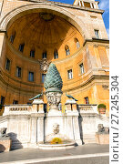 Купить «Fontan della Pigna (Pine Cone Fountain) in Vatican court yard», фото № 27245304, снято 7 ноября 2017 г. (c) Евгений Ткачёв / Фотобанк Лори