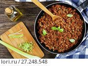 Купить «bolognese ragout in skillet, top view», фото № 27248548, снято 18 ноября 2017 г. (c) Oksana Zh / Фотобанк Лори