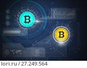 Купить «Bitcoin icons with circuit energy and technology graphics», фото № 27249564, снято 29 марта 2020 г. (c) Wavebreak Media / Фотобанк Лори