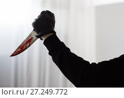 Купить «hand in glove with blood on knife», фото № 27249772, снято 5 мая 2017 г. (c) Syda Productions / Фотобанк Лори