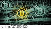 Купить «Composite image of symbol of bitcoin digital cryptocurrency», фото № 27250420, снято 24 марта 2019 г. (c) Wavebreak Media / Фотобанк Лори