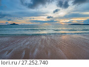 Купить «a sandy beach, the sea at sunset, a beautiful sunset on the Andaman Sea in Thailand», фото № 27252740, снято 8 ноября 2016 г. (c) Константин Лабунский / Фотобанк Лори