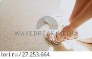 Купить «Bride wearing wedding dress with matching sandals 4K 4k», видеоролик № 27253664, снято 15 октября 2019 г. (c) Wavebreak Media / Фотобанк Лори