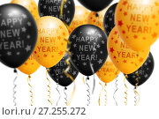 Купить «Bright gold and black balloons 2018, Christmas, New Year Balloon with glitter on white background. Isolated. Ballon inscriptions», фото № 27255272, снято 23 апреля 2018 г. (c) Сергей Тимофеев / Фотобанк Лори