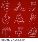 Christmas thin line icons. Стоковая иллюстрация, иллюстратор Дмитрий Варава / Фотобанк Лори