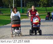 Купить «Люди с детскими колясками на прогулке. Парковая зона отдыха у Гольяновского пруда. Район Гольяново. Город Москва», эксклюзивное фото № 27257668, снято 11 сентября 2009 г. (c) lana1501 / Фотобанк Лори