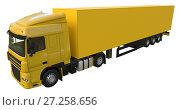 Купить «Large yellow truck with a semitrailer. Template for placing graphics. 3d rendering.», иллюстрация № 27258656 (c) Владимир Хапаев / Фотобанк Лори