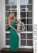 Купить «Девушка в зелёном платье стоит у створок окна», фото № 27259212, снято 28 октября 2017 г. (c) Литвяк Игорь / Фотобанк Лори